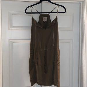 Chaser Army Green Silk Dress, Women's Sz M